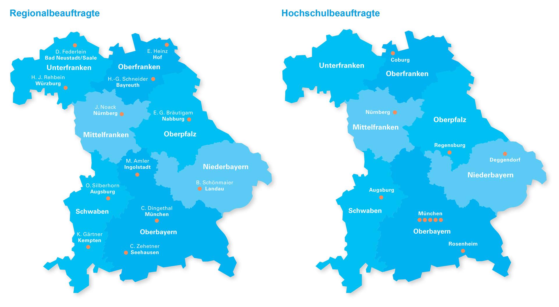 Karte Oberfranken Unterfranken Mittelfranken.Regional Und Hochschulbeauftragte